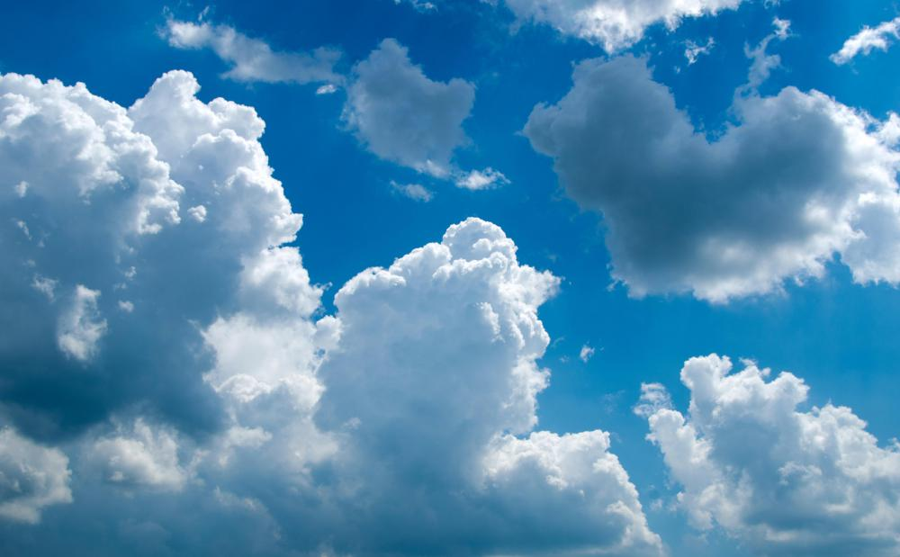 Cumulus clouds can be identified by their clear edges and a cotton ball-like fluffiness.