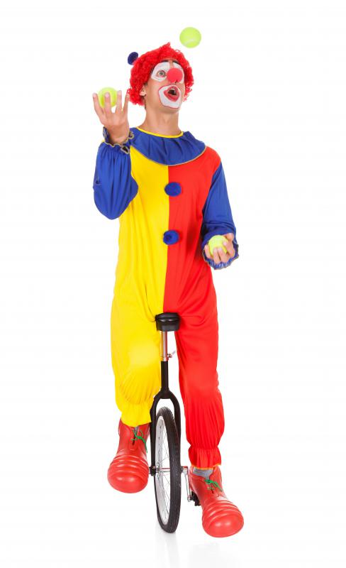 A circus clown may utilize physical comedy.