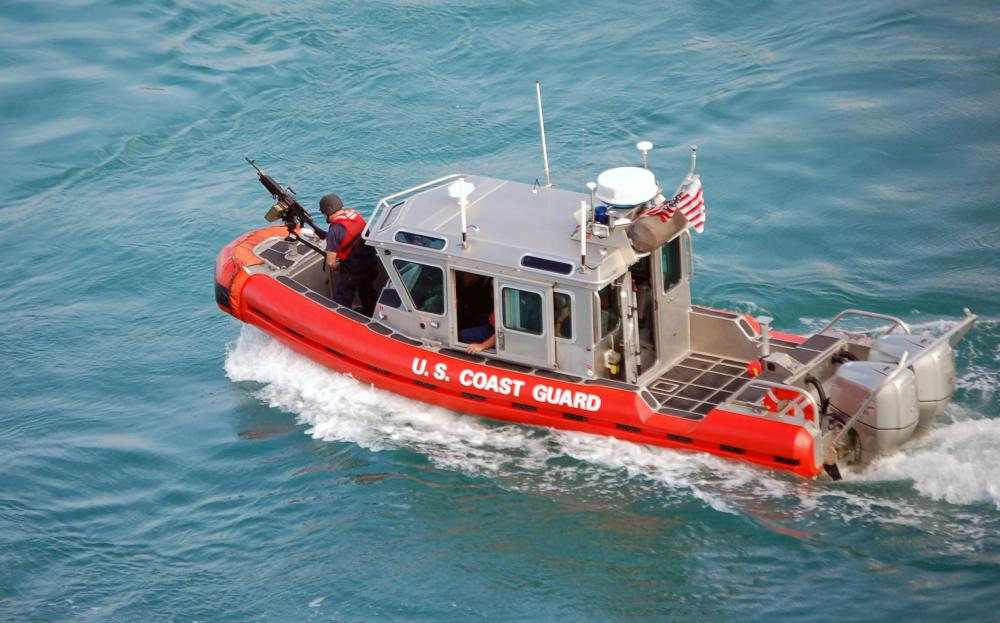 On boats with outboard motors, such as the U.S. Coast Guard's Defender class, the propellers can be raised in or elevated from the water as needed in shallow areas.