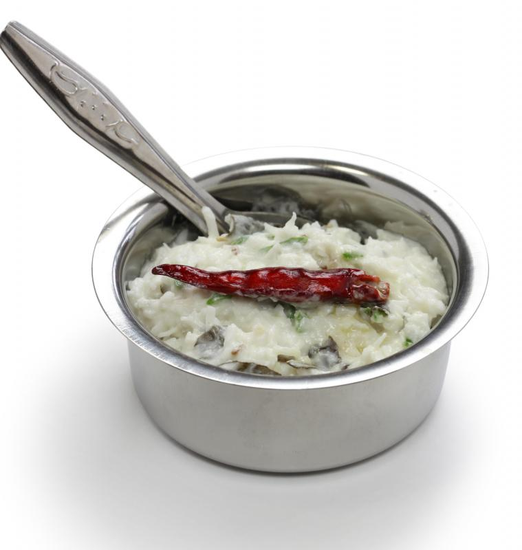 The coconut chutney is served as an accompaniment to many South Indian dishes.