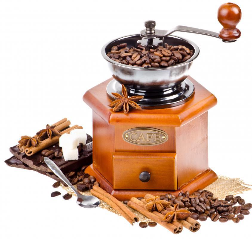 And old-fashioned, hand-powered coffee grinder.