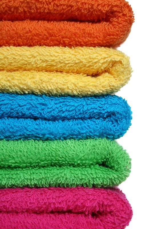 Colored yoga towels.