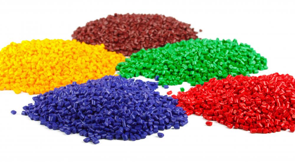 Colored pellets used for plastic injection molding.