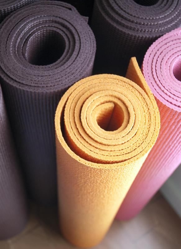 A yoga mat can work well for many gym exercises.
