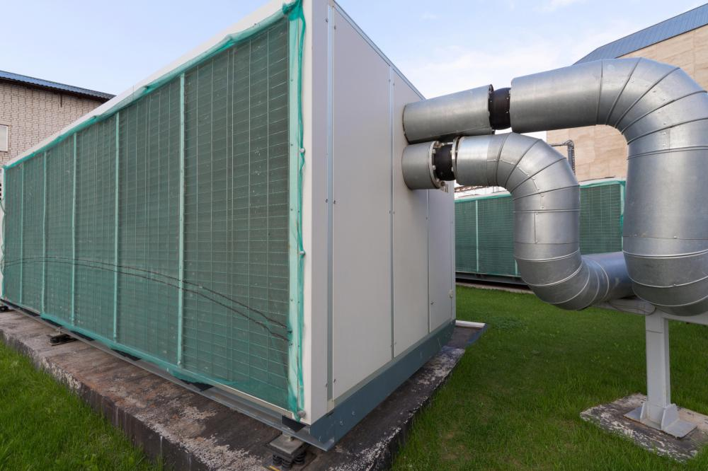 An air handler will be used in conjunction with a heat pump to distribute air throughout a building.