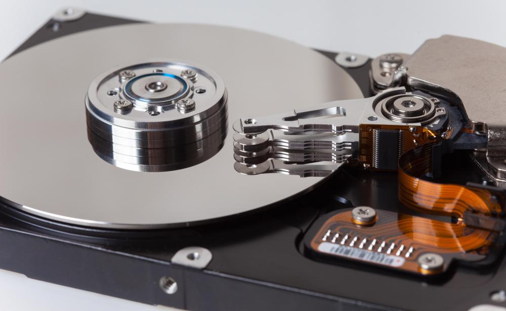 A computer's hard drive is scanned during deduplication.