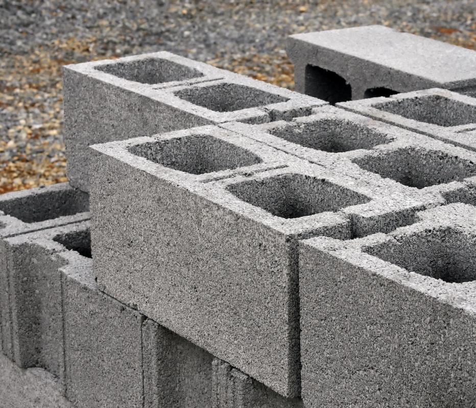 A wythe is made up of a single line of units, such as these concrete blocks.