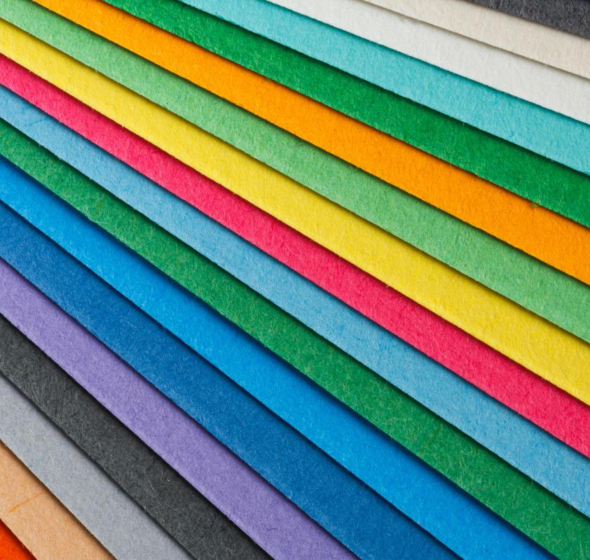 Colored construction paper is often used in children's crafts.