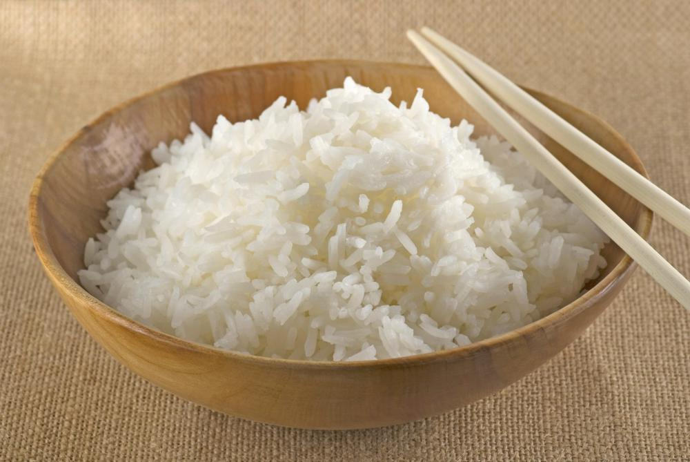 Rice made in a rice cooker.
