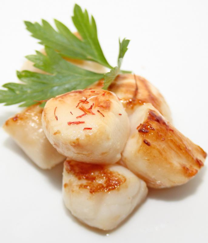 Cooked scallops, a type of shellfish.