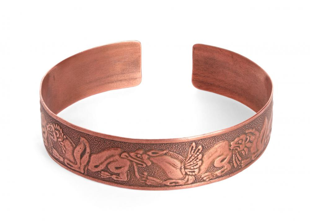 Engraved designs that are based on antique art are often incorporated into bracelets.