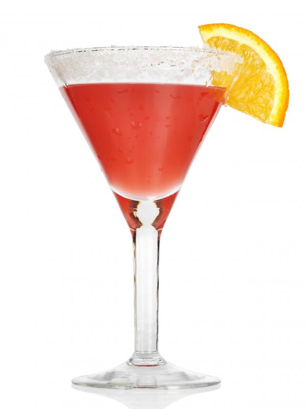 Cranberry juice is used to make Cosmopolitans.