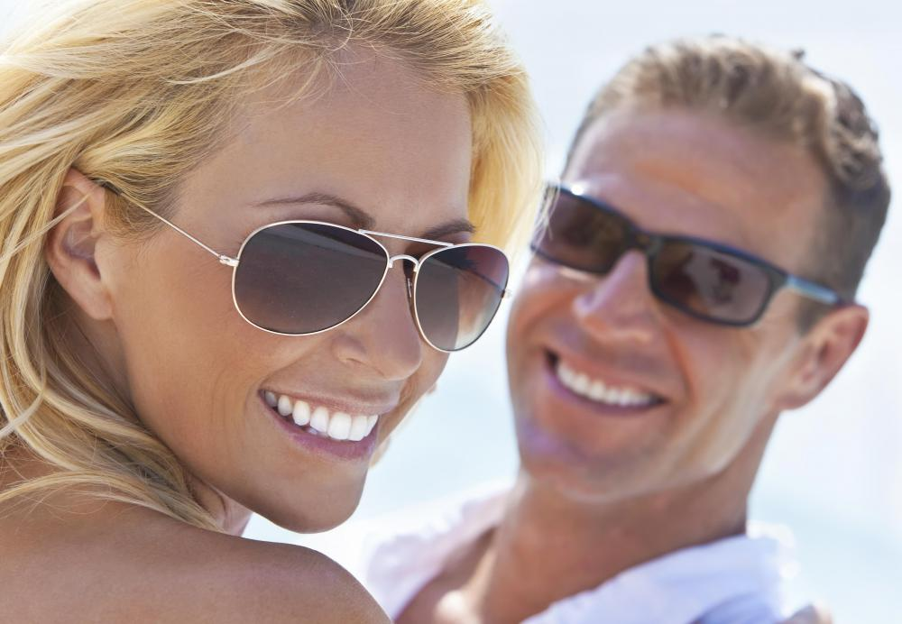 Sunglasses with polarized lenses can help protect the eyes from UV rays.