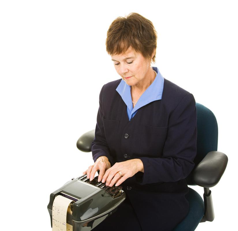 A stenographer is responsible for transcribing courtroom dialogue.