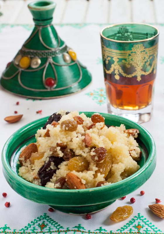 Traditional Moroccan couscous dessert with dried fruit.