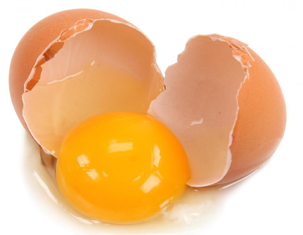 An egg wash can be made from a yolk and egg white or from separated parts of the egg.