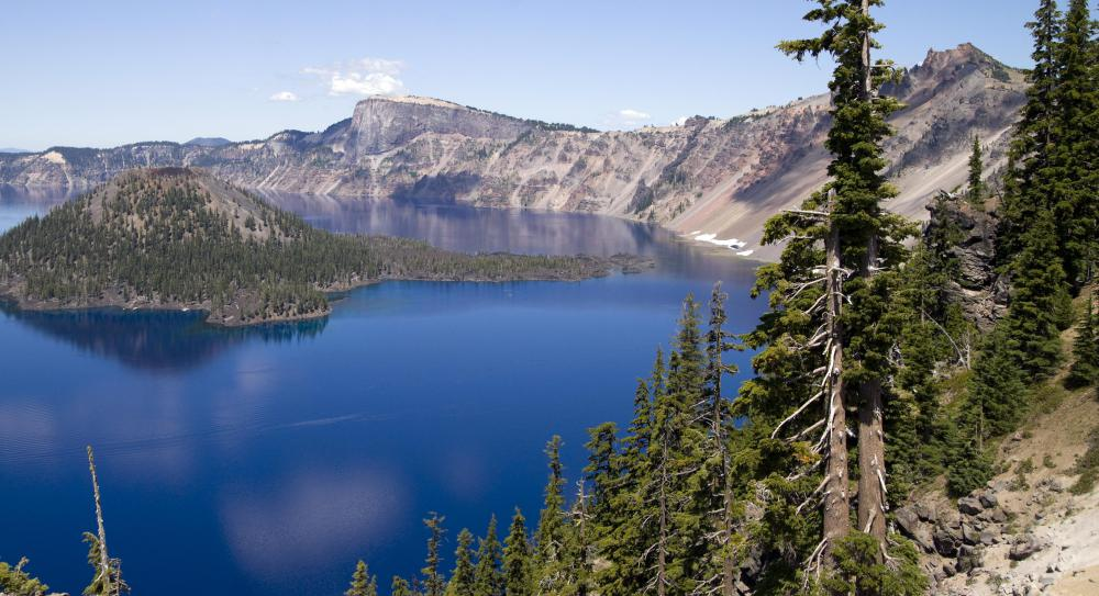 A caldera lies below Crater Lake in Oregon.