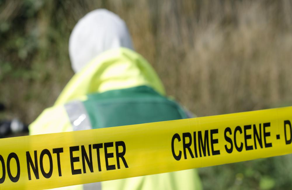 Chemical detection might be done by law enforcement officers at a crime scene.