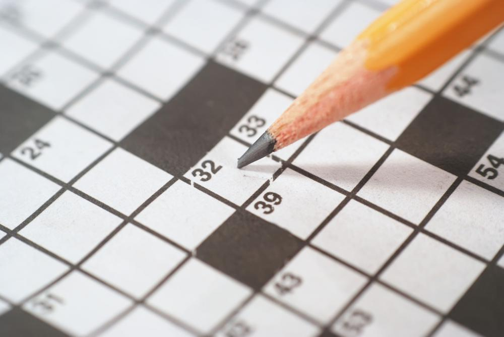 Standard crossword puzzles have a black and white grid.