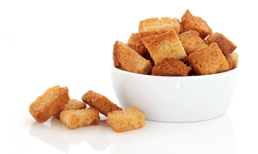 Croutons may be served as a garnish for shrimp bisque.