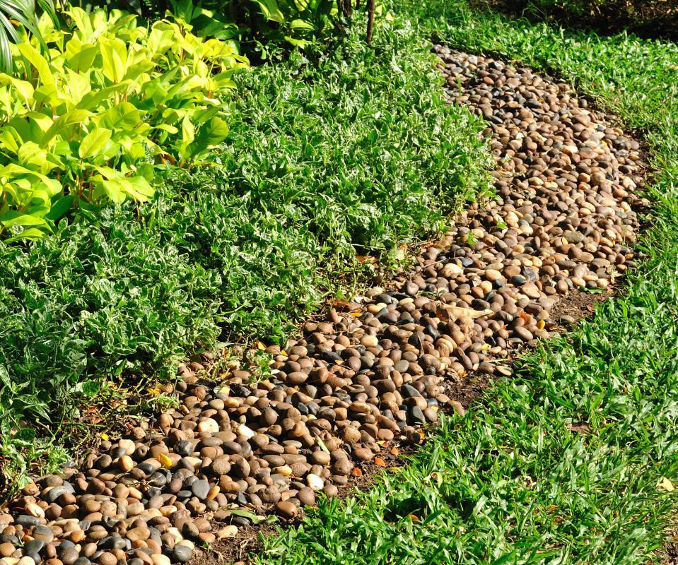 Coarse crushed stone is commonly used in landscaping designs.
