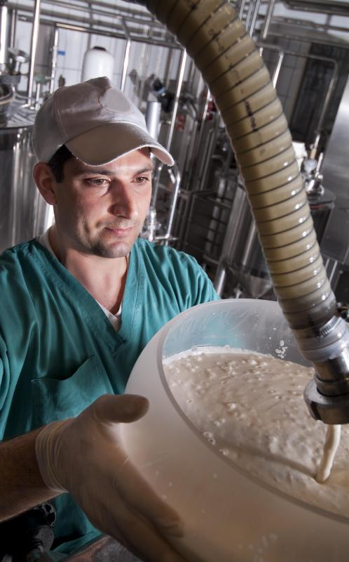 Man making vegan yogurt.