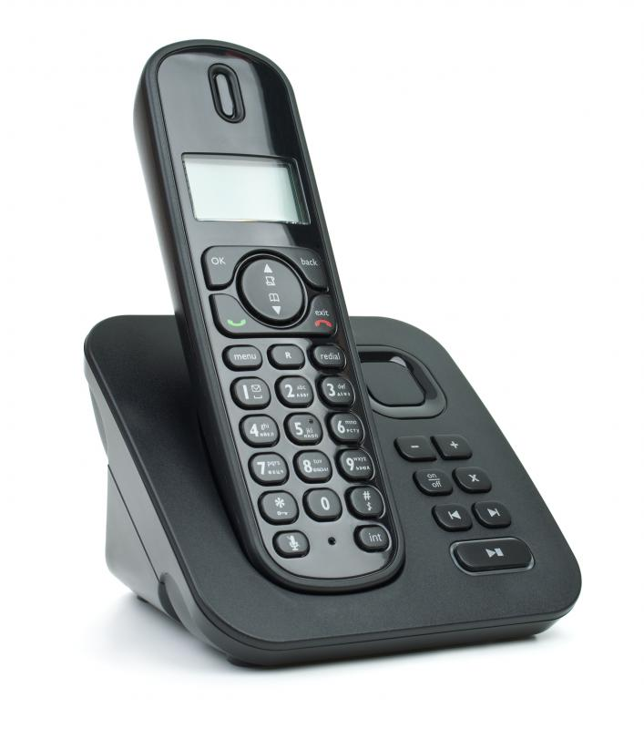 A cordless phone with an RF transceiver.