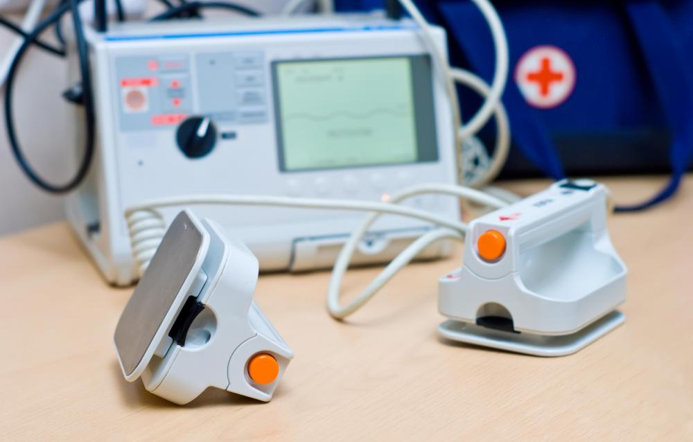 A defibrillator may be used to treat ventricular fibrillation.