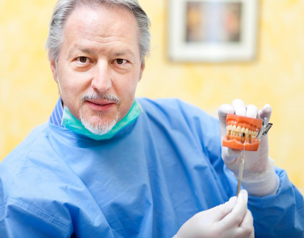 Guided tissue regeneration may be used to prepare the jaw for dental implants.