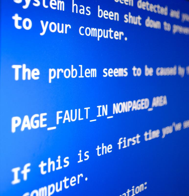 The blue screen of death, or blue error screen, often indicates a major software failure within the Windows operating system.