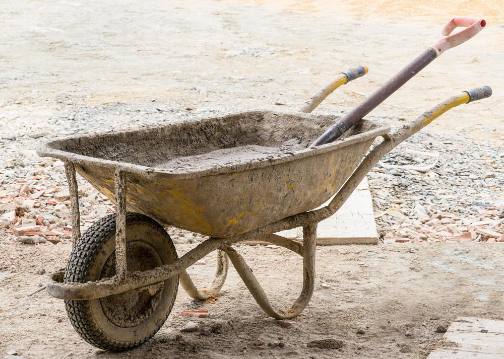 Wheelbarrows are often used in construction as well as gardening.