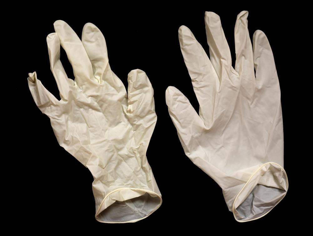 Acid-proof synthetic gloves should be worn when working with sulfuric acid.
