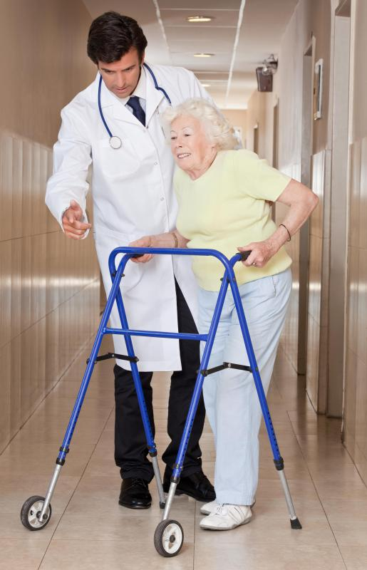 Walkers are used by those with mobility problems to help them get exercise.