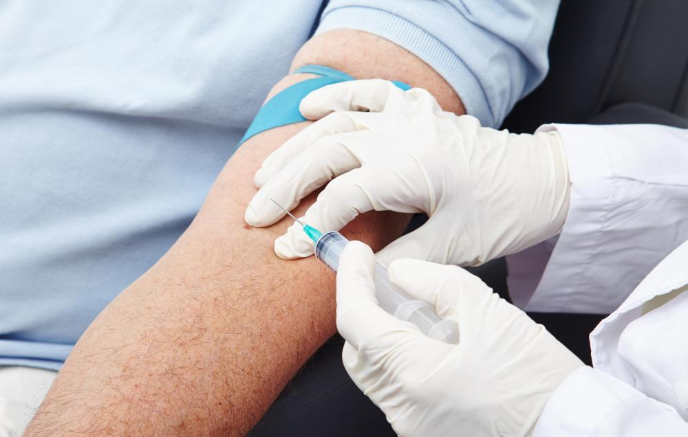 In the most common type of blood test, blood is taken from a vein.