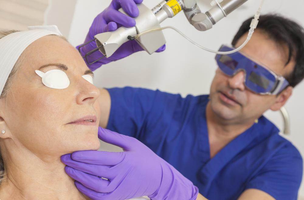 A medical esthetician may be trained to assist with skin treatments that involve phototherapy or laser resurfacing.