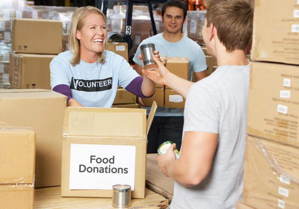 Thanksgiving is a popular time to volunteer at a food bank.