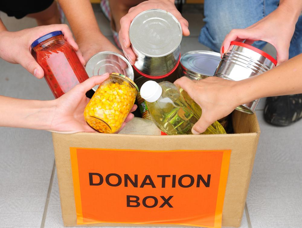 People can participate in a food drive.