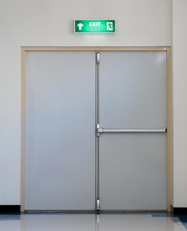 An egress door is an exit designed to allow safe evacuation from a building during an emergency.
