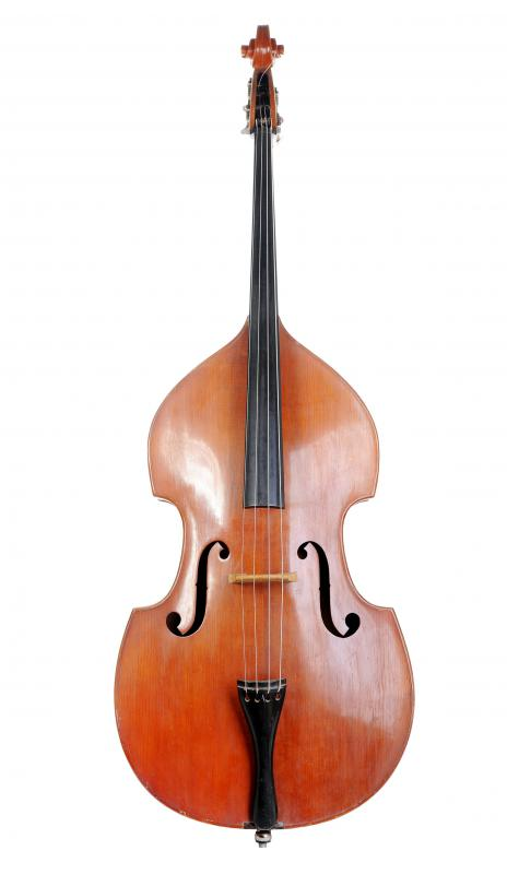 An upright bass, which can be used to play microtonal music.
