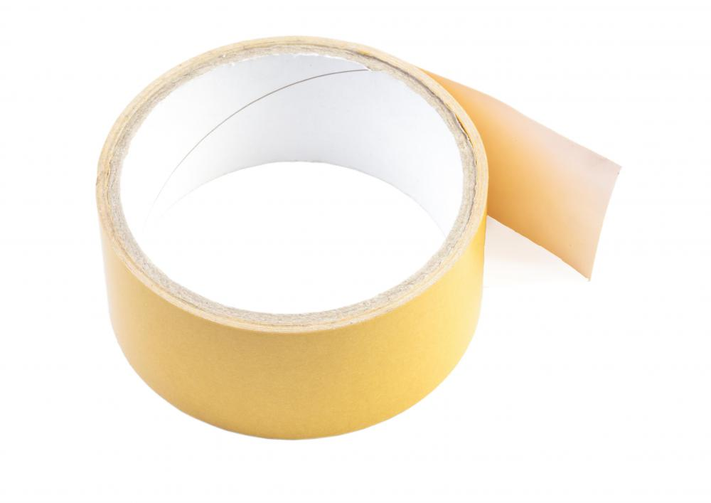 Carpet tape may be used when installing rubber tiles.