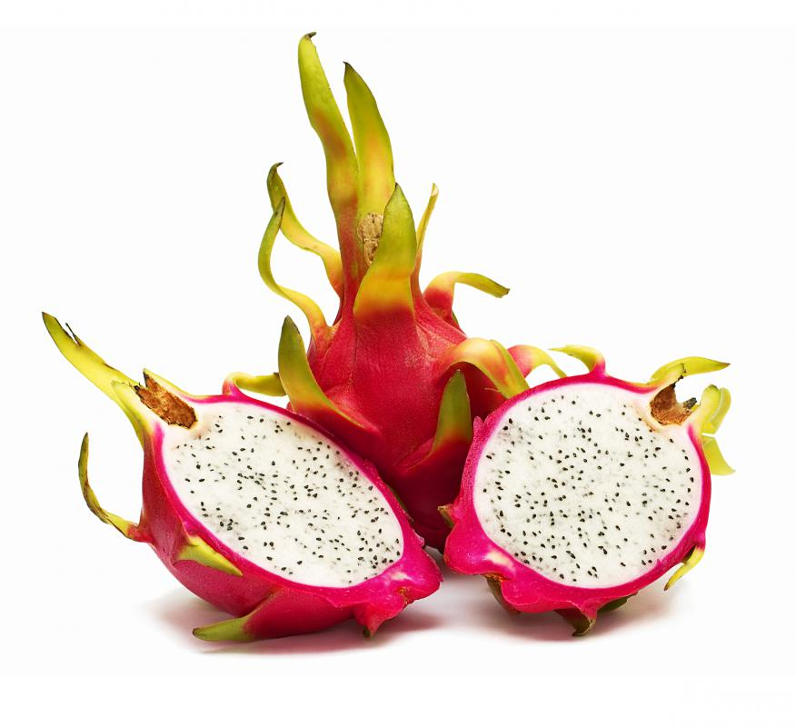 Dragon fruit cut in half.