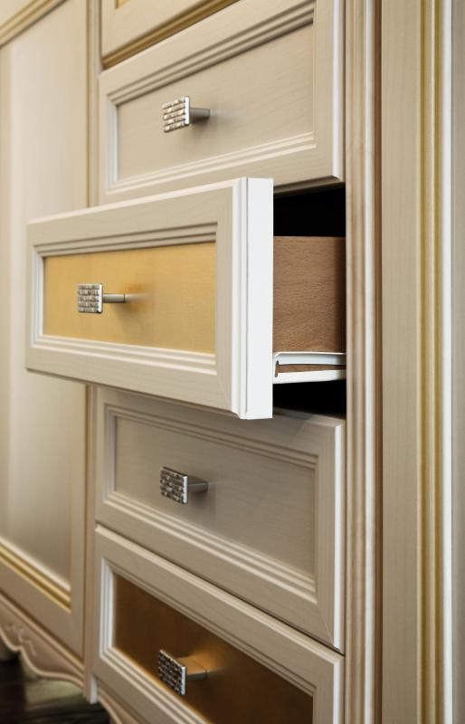 Drawers may be organized by installing dividers.