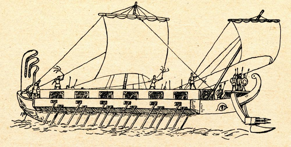 Many ancient warships, such as Greek triremes, had hulls that featured tumblehomes.