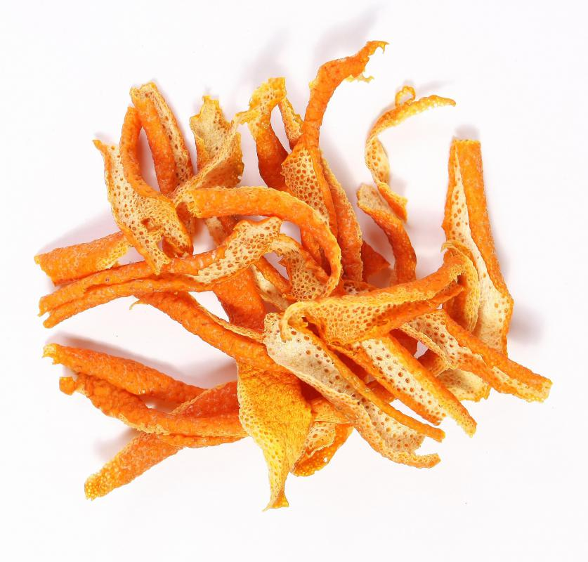 Dried orange peel.