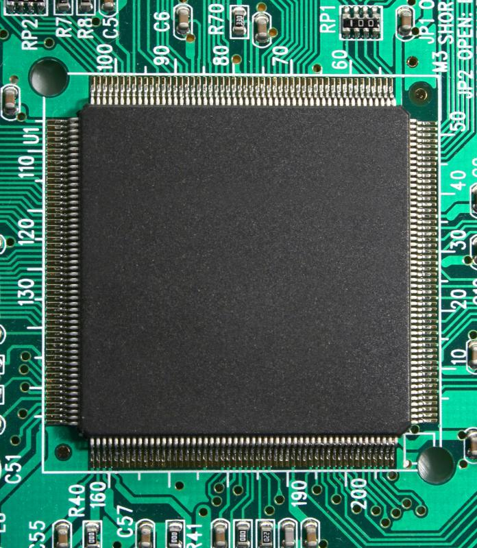 A dual core CPU mounted to a motherboard.