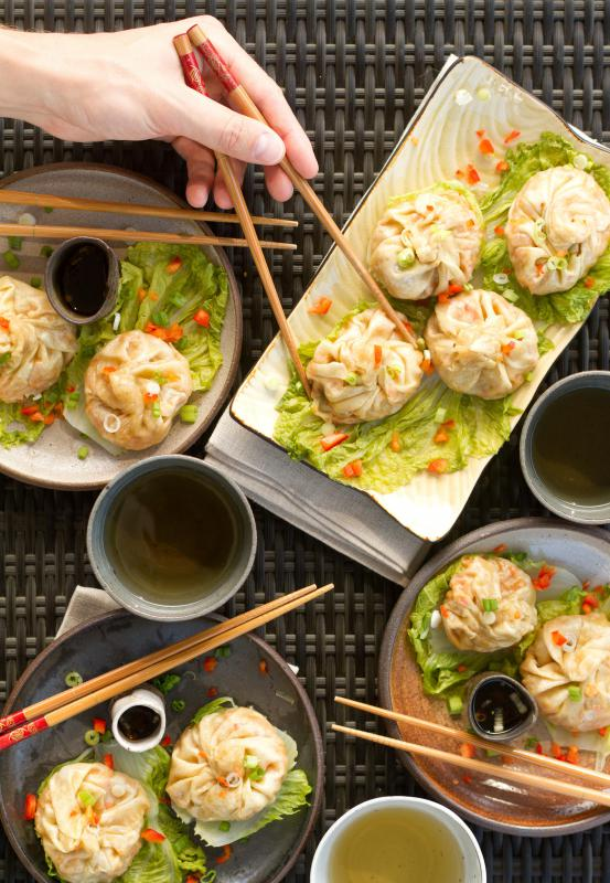 Many dim sum establishments offer steamed dumplings made with ground pork and Chinese cabbage.