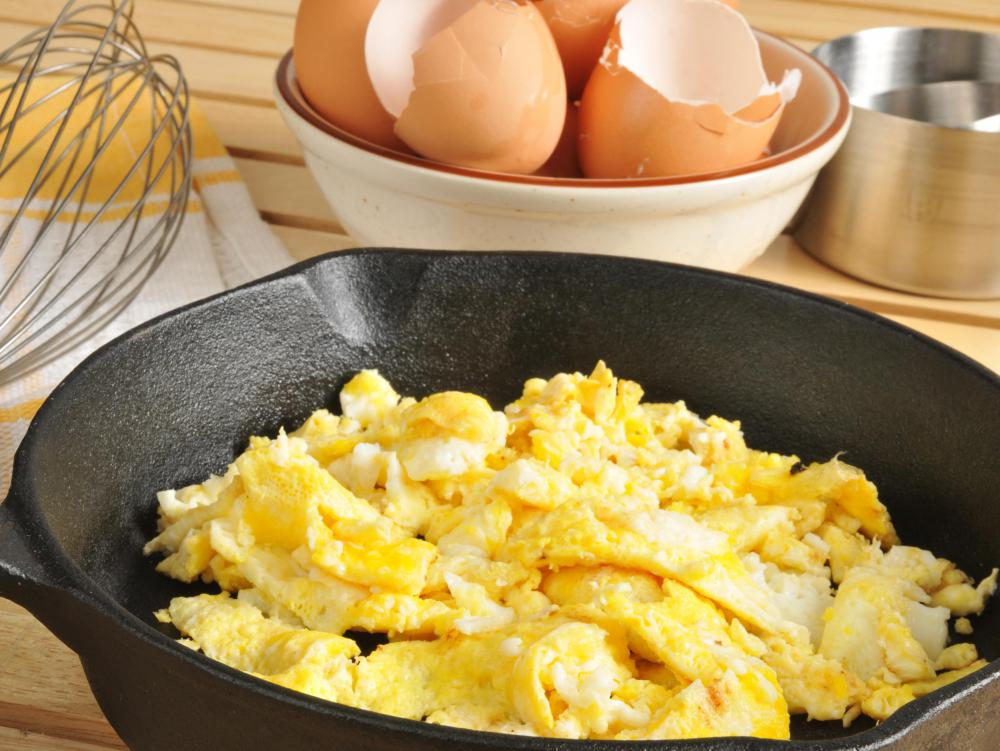 Scrambled eggs should be moved very gently while cooking.