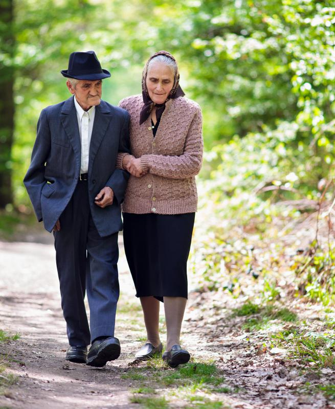 Walking is a healthy exercise for the elderly.