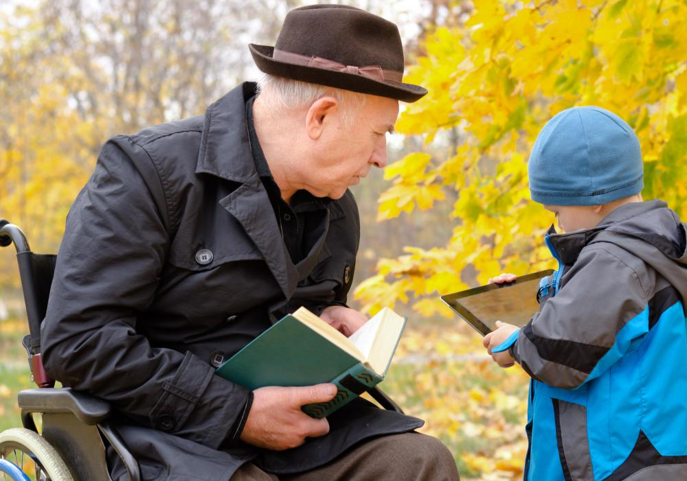 Children may learn the basics of writing from older relatives.