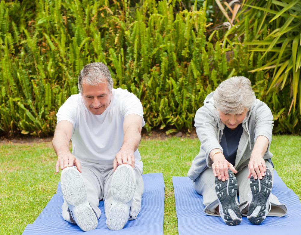 Some seniors stretch or practice yoga to maintain flexibility, and for other health benefits.